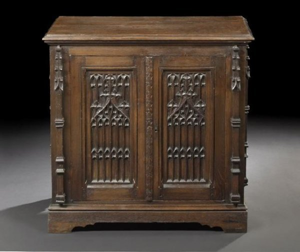 572: Continental Carved Oak Cabinet