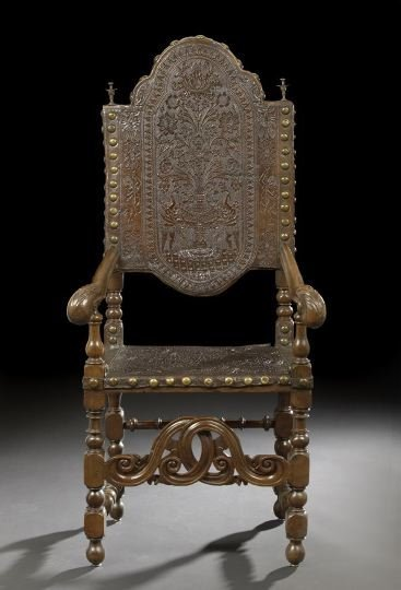 573: Spanish Walnut and Leather Armchair