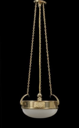 815: French Art Deco Brass and Satine Glass Chandelier