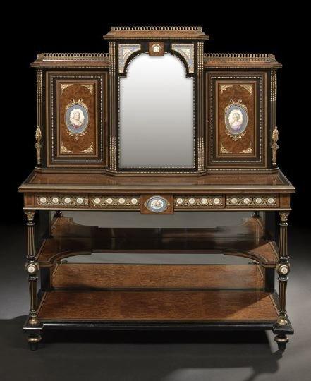 929: Victorian Ebonized and Amboyna Parlor Cabinet