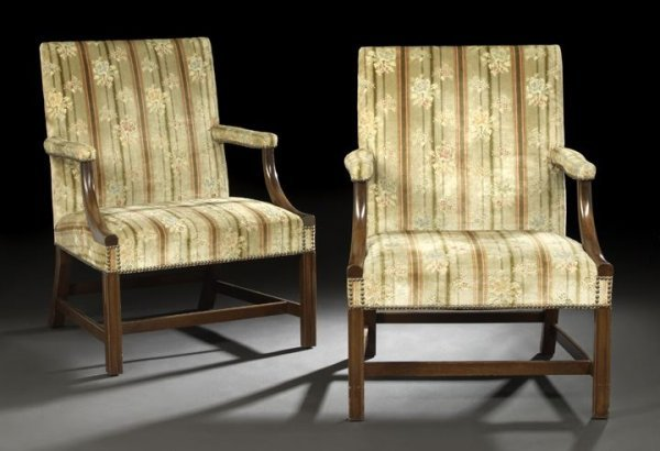 3: Pair of George III-Style Gainsborough Armchairs