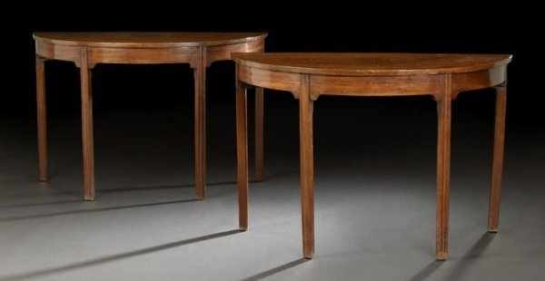 20: Pair of George III-Style Demi-lune Side Tables