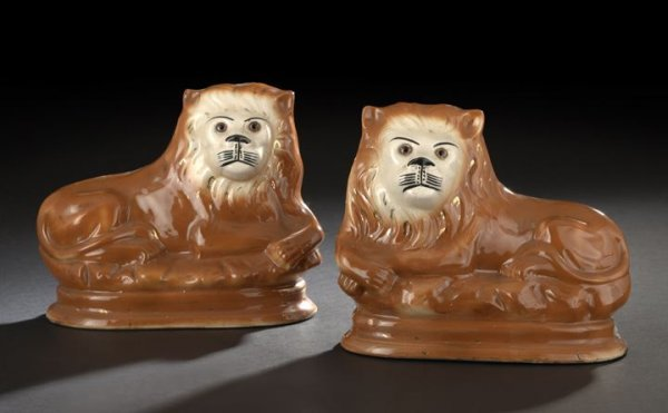 47: Pair of Staffordshire Pottery Lions