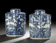 307 Pair of Chinese Blue and White Tea Caddies