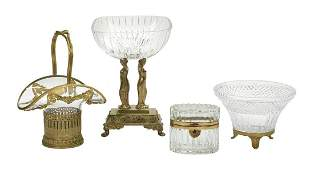 Four Brass and Crystal Objects