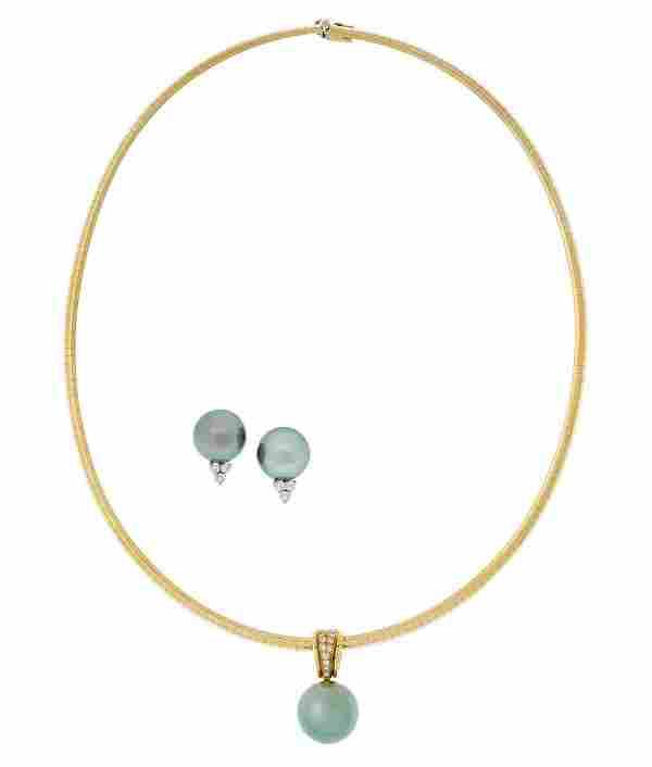 Tahitian Pearl Earrings and Pendant