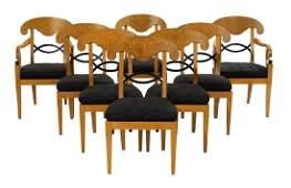 Eight Baker Biedermeier-Style Maple Dining Chairs