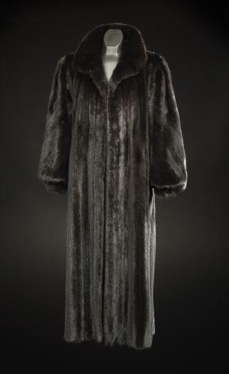 661: Black Mink Swing Coat