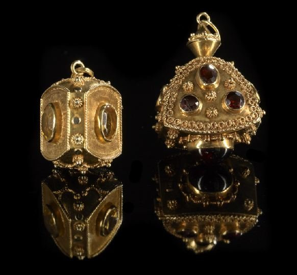 676: Two 18 Kt. Yellow Gold and Gemstone Pendants