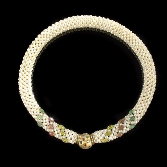 679: 18 Kt. Gold, Pearl, Gemstone and Diamond Necklace