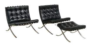 Pair of Barcelona Chairs with Ottoman