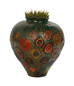 American Art Pottery Lidded Jar