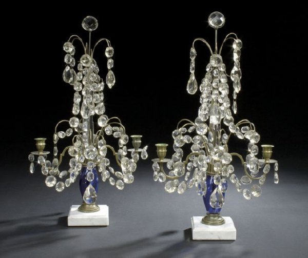 287: Pair of Swedish Brass and Glass Candelabra