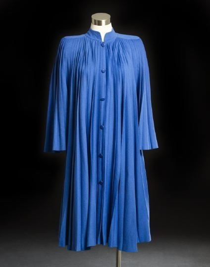 686: Philippe Venet Blue Pleated Long-Sleeved Coat