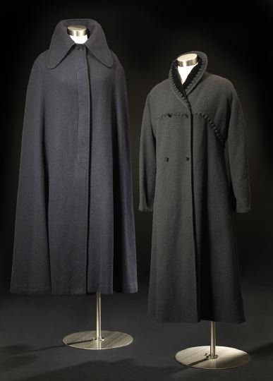 689: Navy Wool Cape and Charcoal Wool Coat