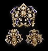 706 VictorianStyle Pearl Enamel and Diamond Suite