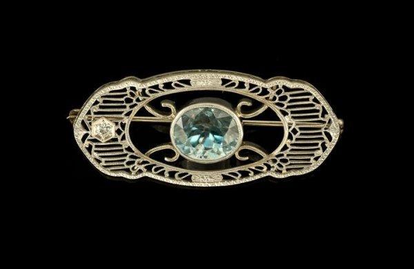 767: Gold, Blue Zircon and Diamond Filigree Brooch