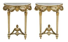 Pair of Louis XVI-Style Marble-Top Console Tables