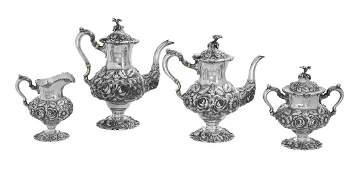 Stieff Repousse Sterling Silver Tea Set