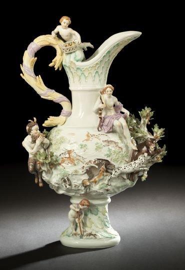 1: Monumental Meissen Allegorical Figural Ewer