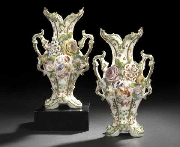 2: Pair of Coalbrookdale Porcelain Garniture Vases