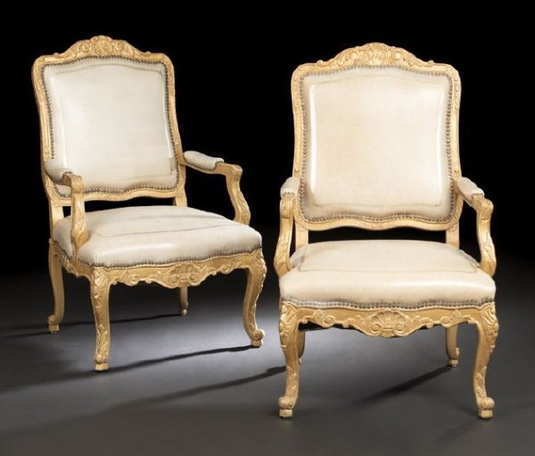 7: Pair of Louis XV-Style Giltwood Fauteuils
