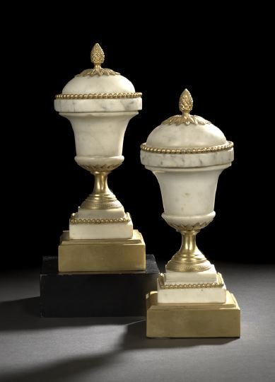 14: Pair of French Calcatta Marble Garniture Vases
