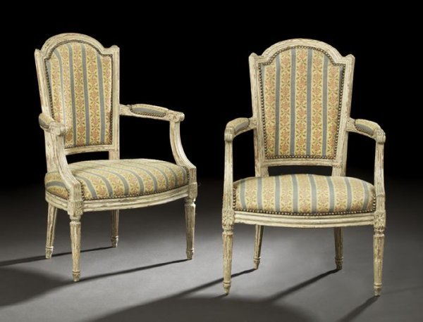 18: Pair of Louis XVI-Style Polychromed Fauteuils