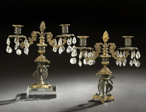 23: Pair of French Brass and Cut Glass Candelabra