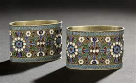 78 Pair of Nicholas II Silver  Enamel Napkin Rings