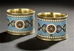 79 Pair of Nicholas II Silver  Enamel Napkin Rings