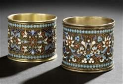 81 Two Nicholas II Silver  Enamel Napkin Rings