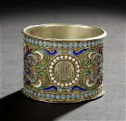 85: Nicholas II Silver Gilt and Enamel Napkin Ring