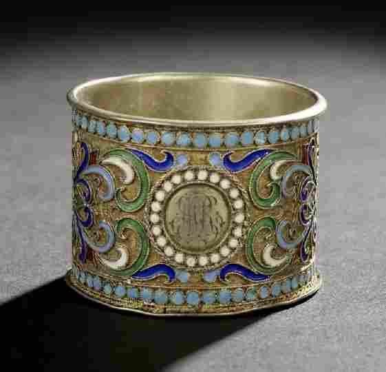 85: Nicholas II Silver Gilt and Enamel Napkin Ring