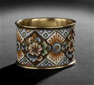 86: Nicholas II Silver Gilt and Enamel Napkin Ring