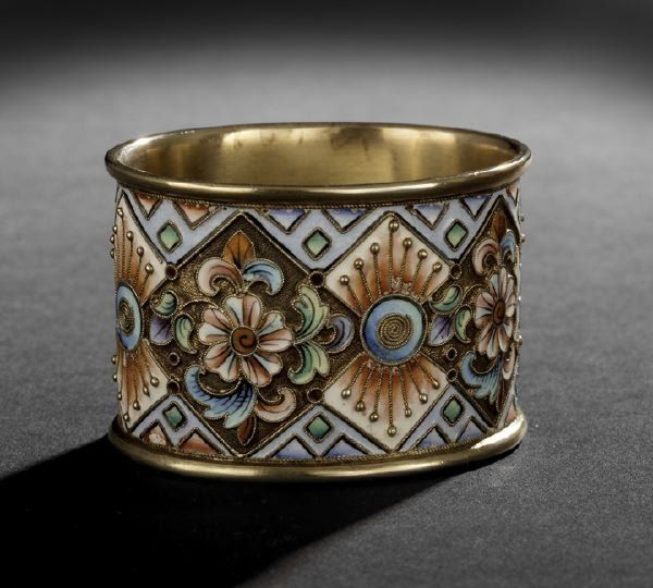 86: Nicholas II Silver Gilt and Enamel Napkin Ring