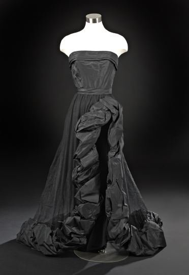 "628: Black Taffeta Evening Dress, ""The Vavoom"""