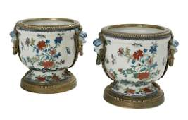 Pair of Asian Bronze-Mounted Stoneware Cachepots