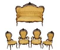 American Rococo Revival Rosewood Parlor Suite