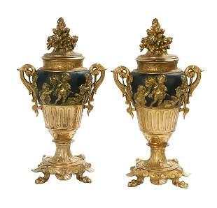 Pair of French Neo-Grec Bronze Garniture Urns