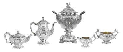 Good Five-Piece George IV Sterling Silver Tea Set