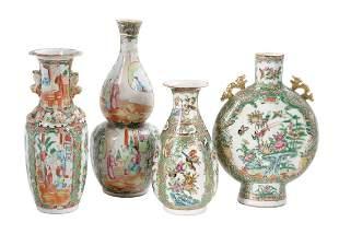 Four Pieces of Rose Medallion Porcelain