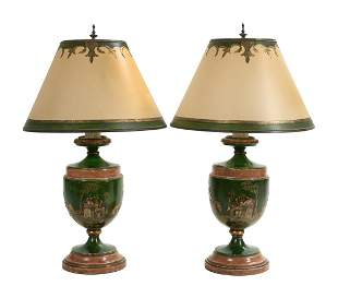 Pair of Regency-Style Chinoiserie Lamps
