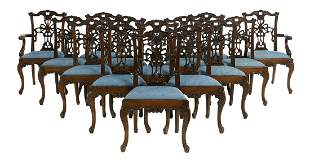 Fourteen George III-Style Mahogany Dining Chairs