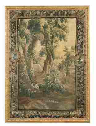 Belgian Hand-Woven Verdure Tapestry