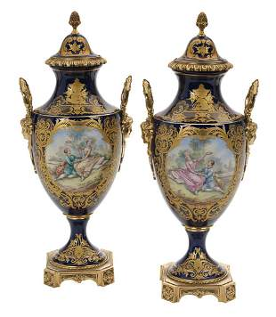 Pair of Sevres-Style Bronze-Mounted Urns