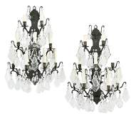 Pair of Patinated Bronze and Crystal Appliques