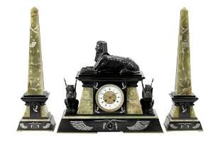 Egyptian Revival Three-Piece Clock Set