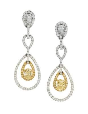Pair of Yellow and White Diamond Earrings