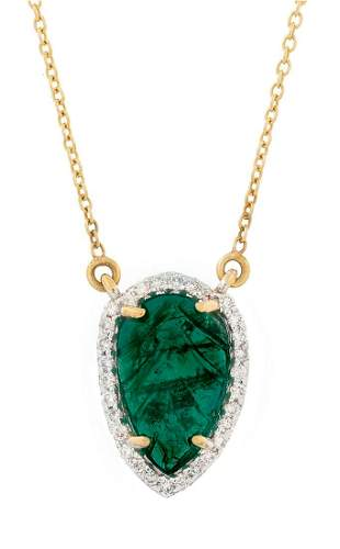Carved Emerald and Diamond Pendant Necklace